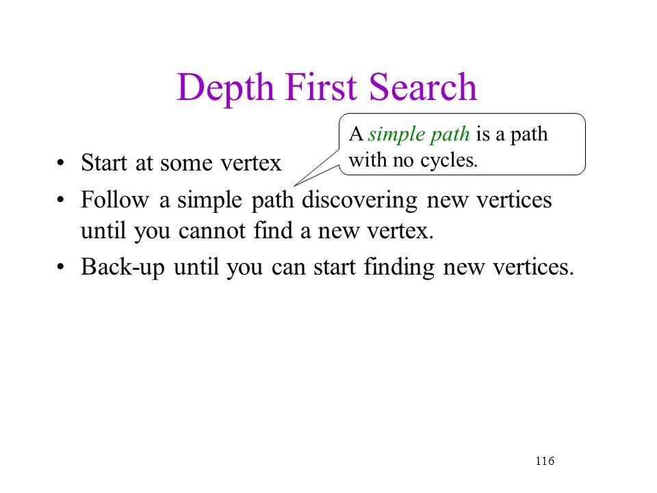 Depth First Search Start at some vertex