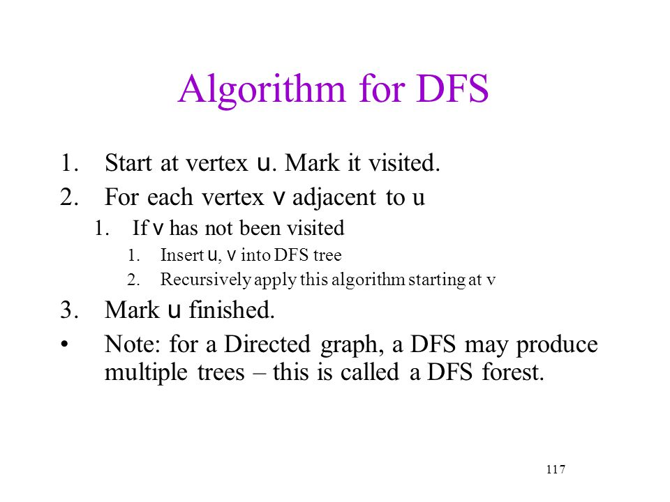Algorithm for DFS Start at vertex u. Mark it visited.