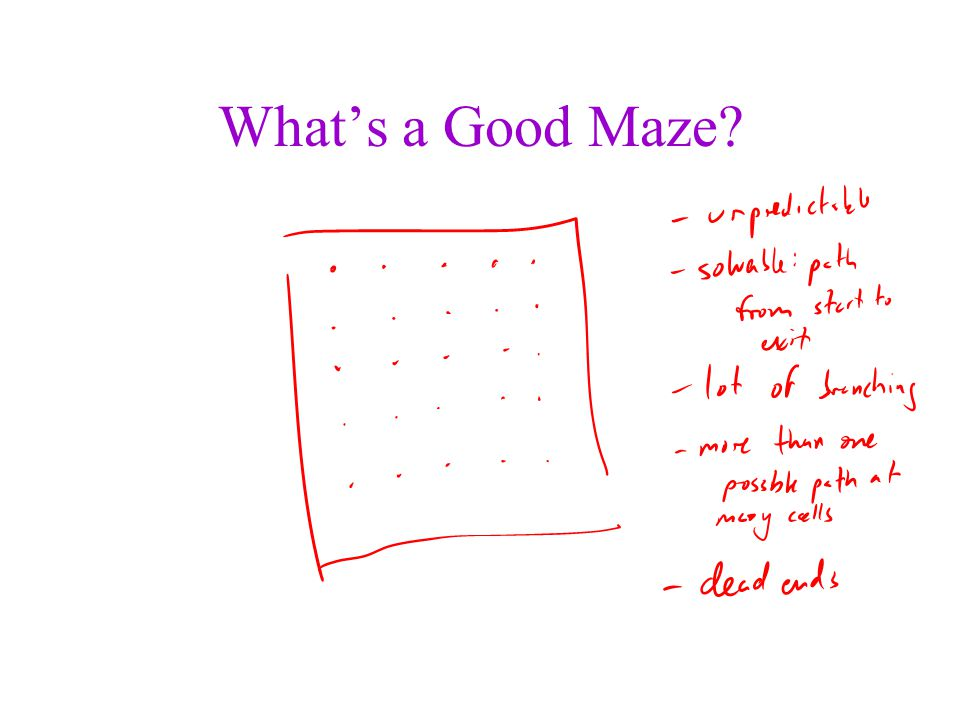 What's a Good Maze A bunch of adjacent rooms.