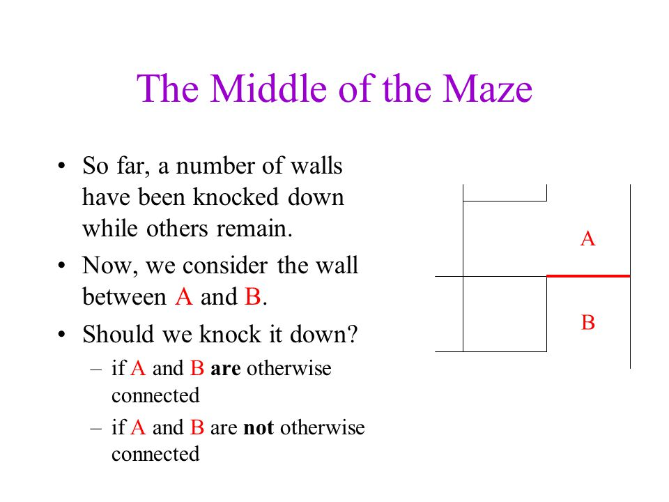 The Middle of the Maze So far, a number of walls have been knocked down while others remain. Now, we consider the wall between A and B.