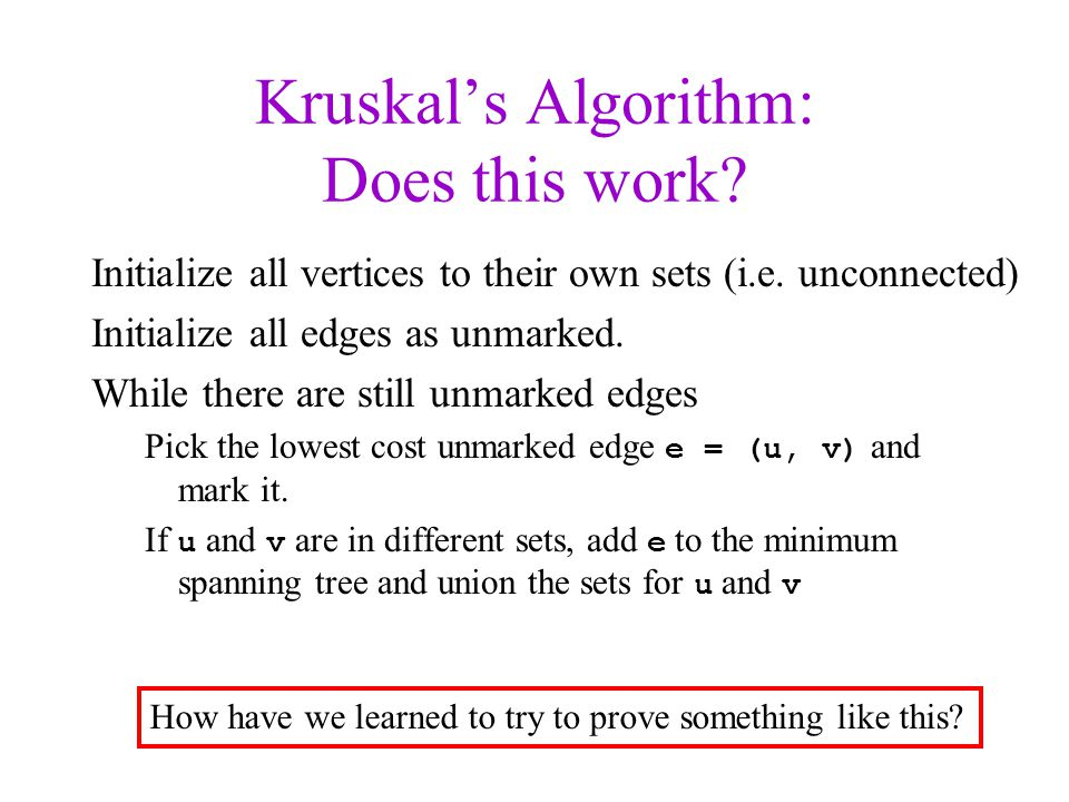 Kruskal's Algorithm: Does this work
