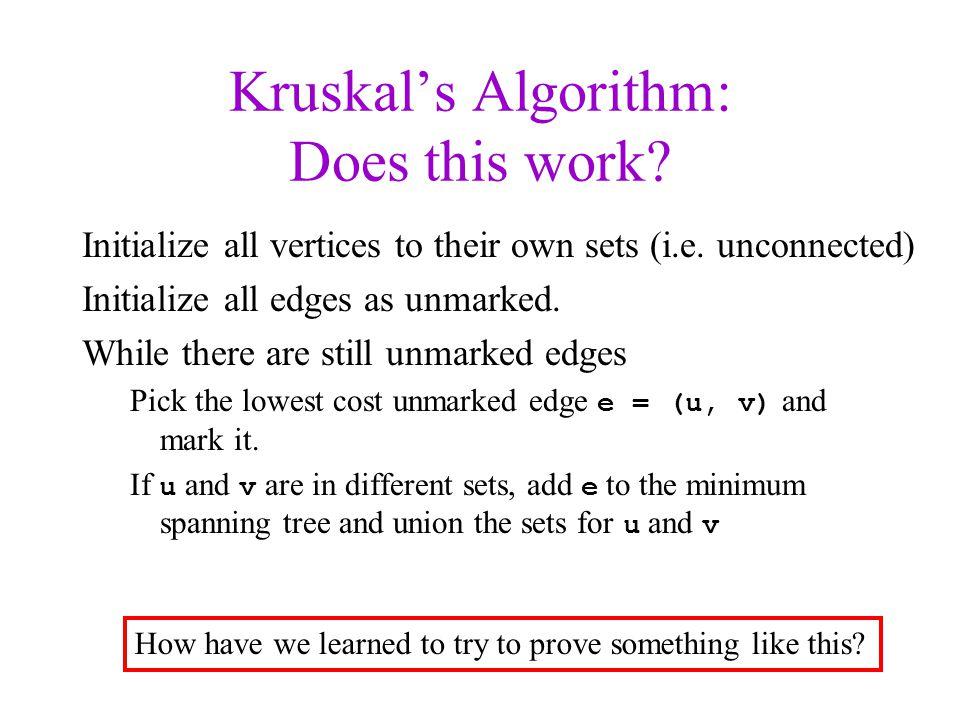 Kruskal's Algorithm: Does this work