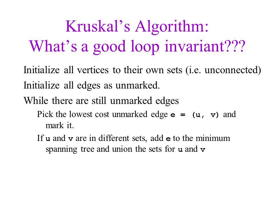 Kruskal's Algorithm: What's a good loop invariant