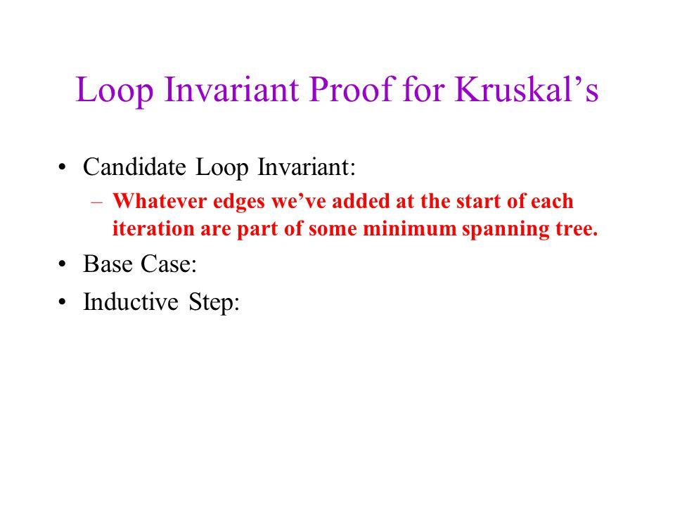 Loop Invariant Proof for Kruskal's