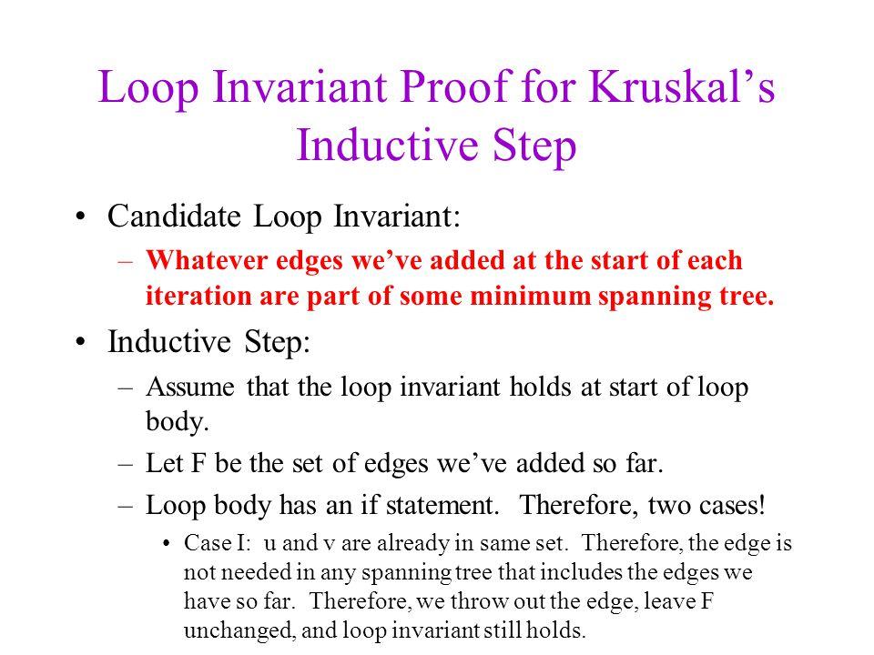 Loop Invariant Proof for Kruskal's Inductive Step