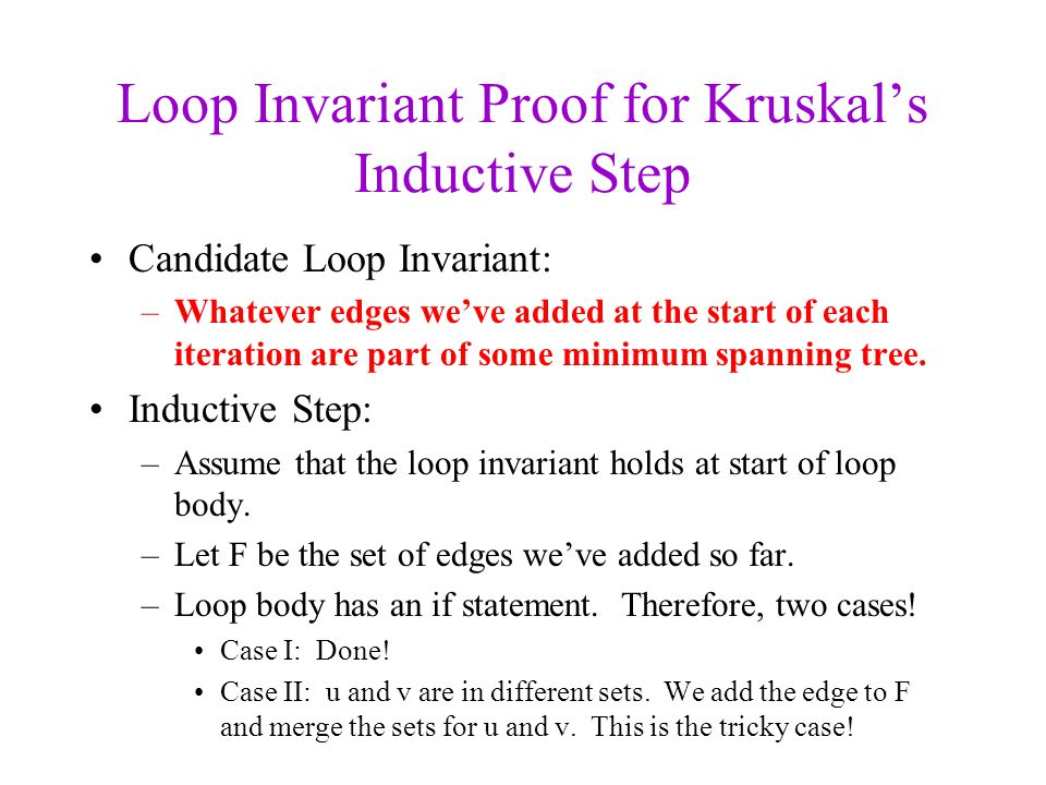 Loop Invariant Proof for Kruskal's Inductive Step