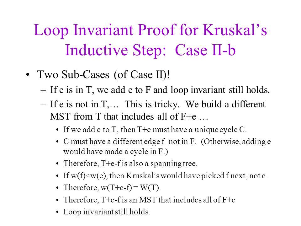 Loop Invariant Proof for Kruskal's Inductive Step: Case II-b