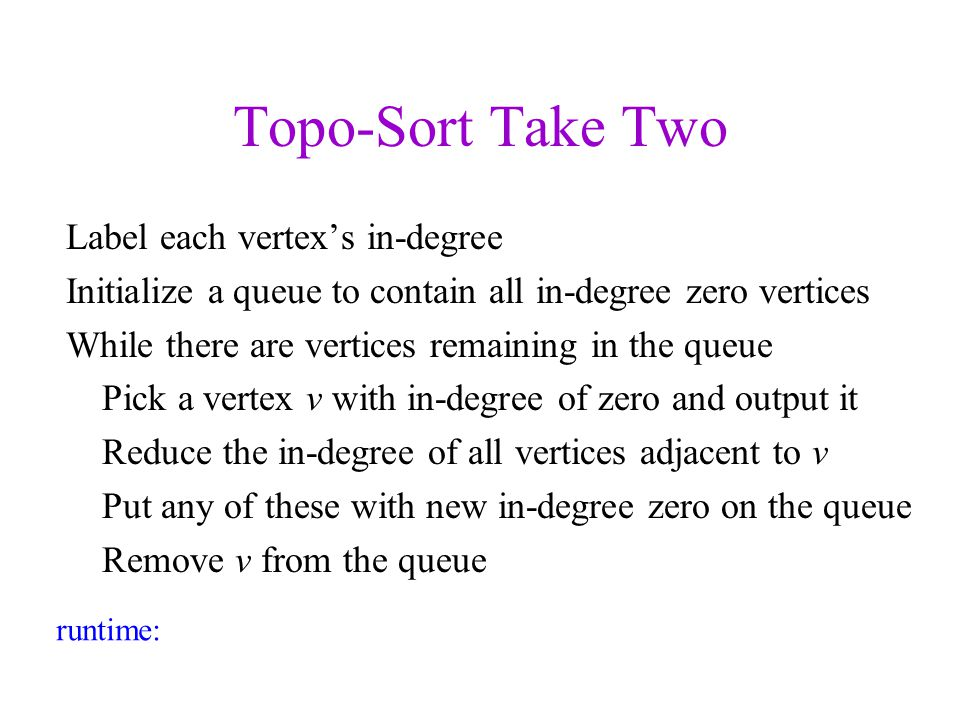 Topo-Sort Take Two Label each vertex's in-degree