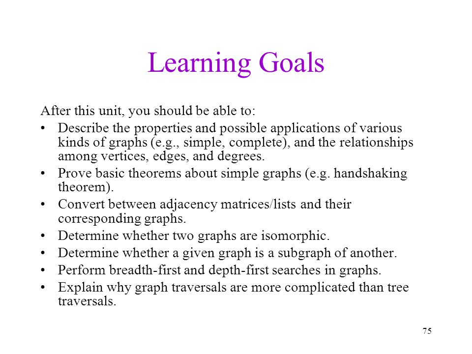 Learning Goals After this unit, you should be able to: