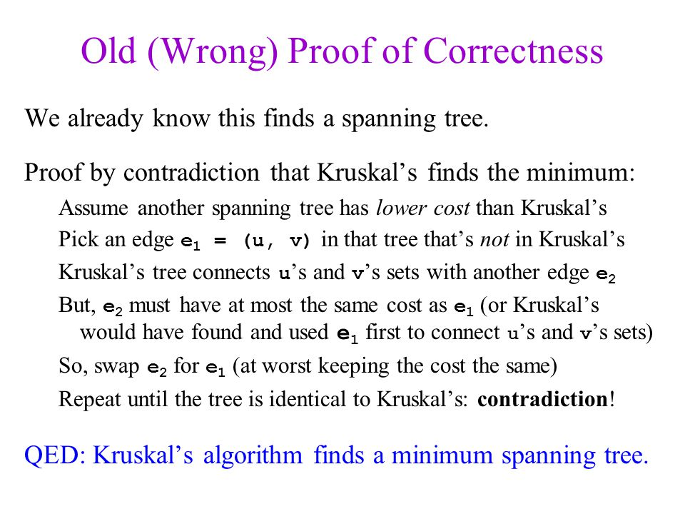 Old (Wrong) Proof of Correctness
