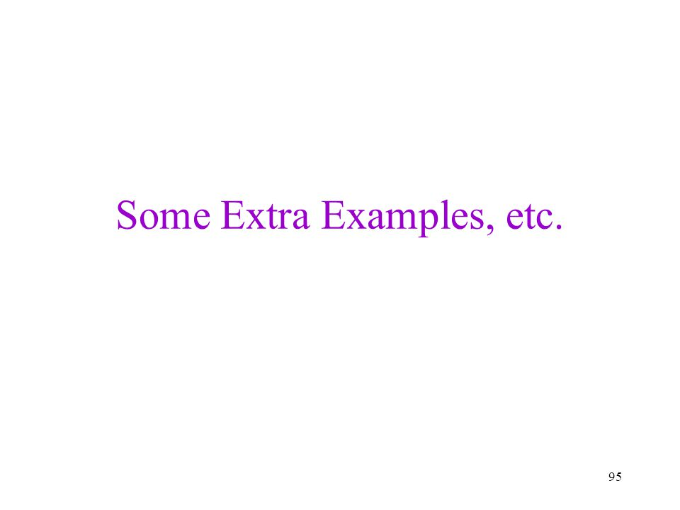 Some Extra Examples, etc.