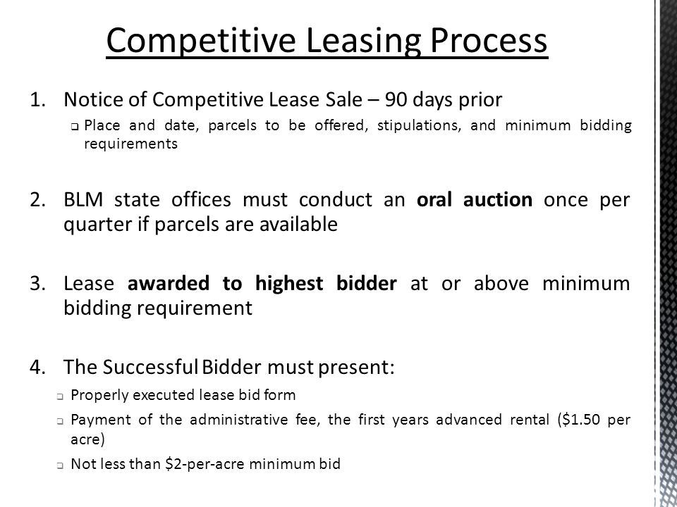 Competitive Leasing Process