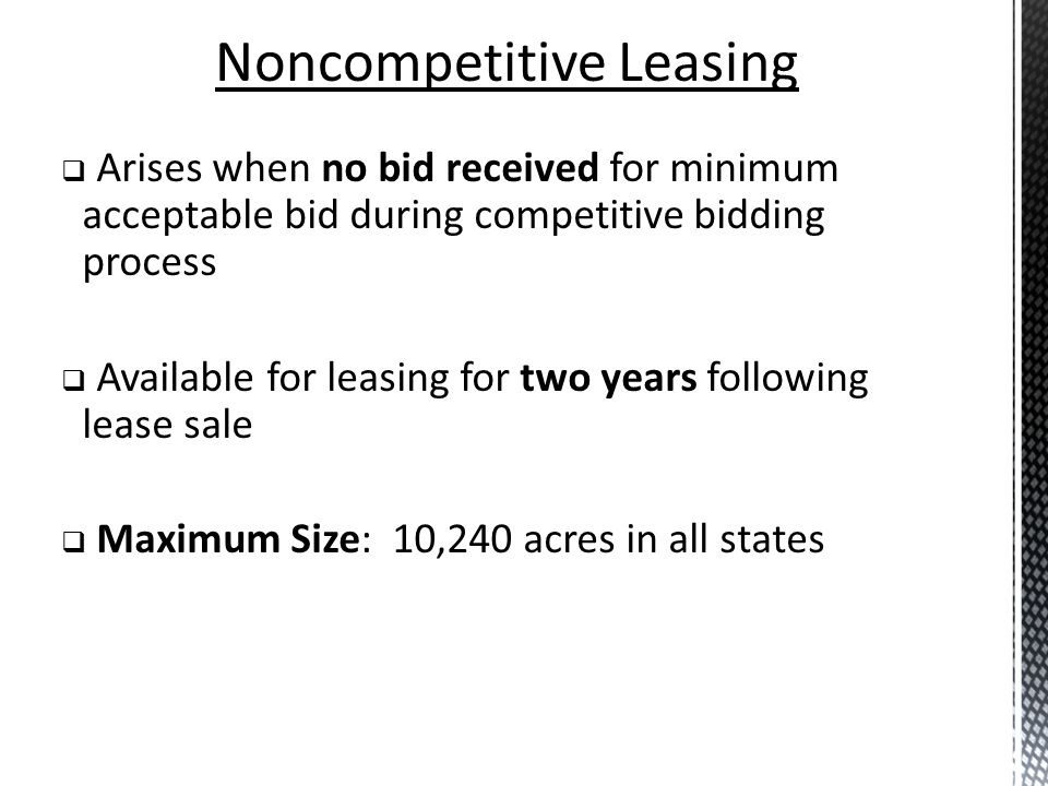 Noncompetitive Leasing