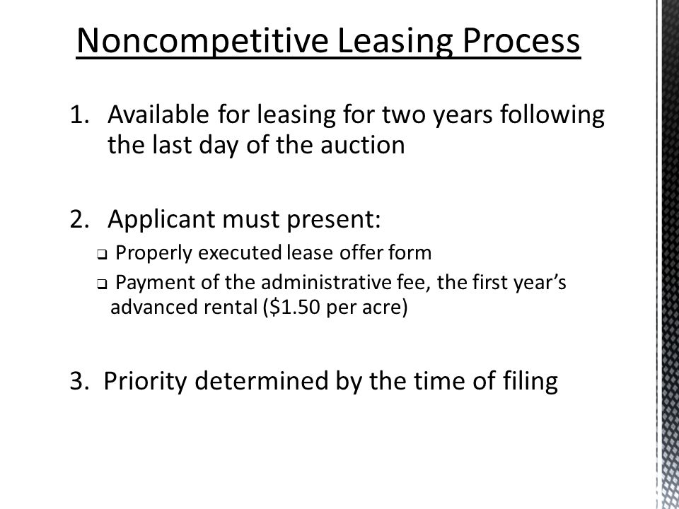 Noncompetitive Leasing Process