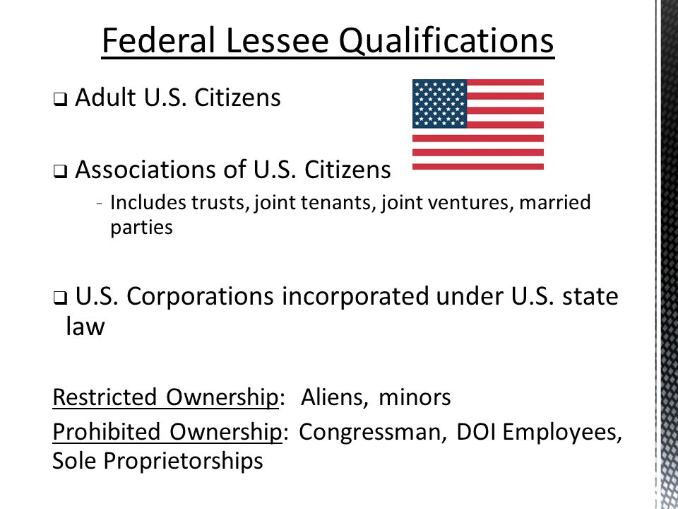 Federal Lessee Qualifications