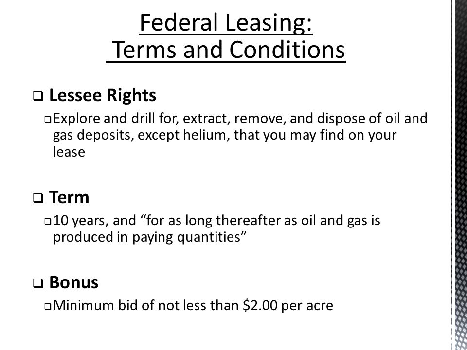 Federal Leasing: Terms and Conditions Lessee Rights Term Bonus