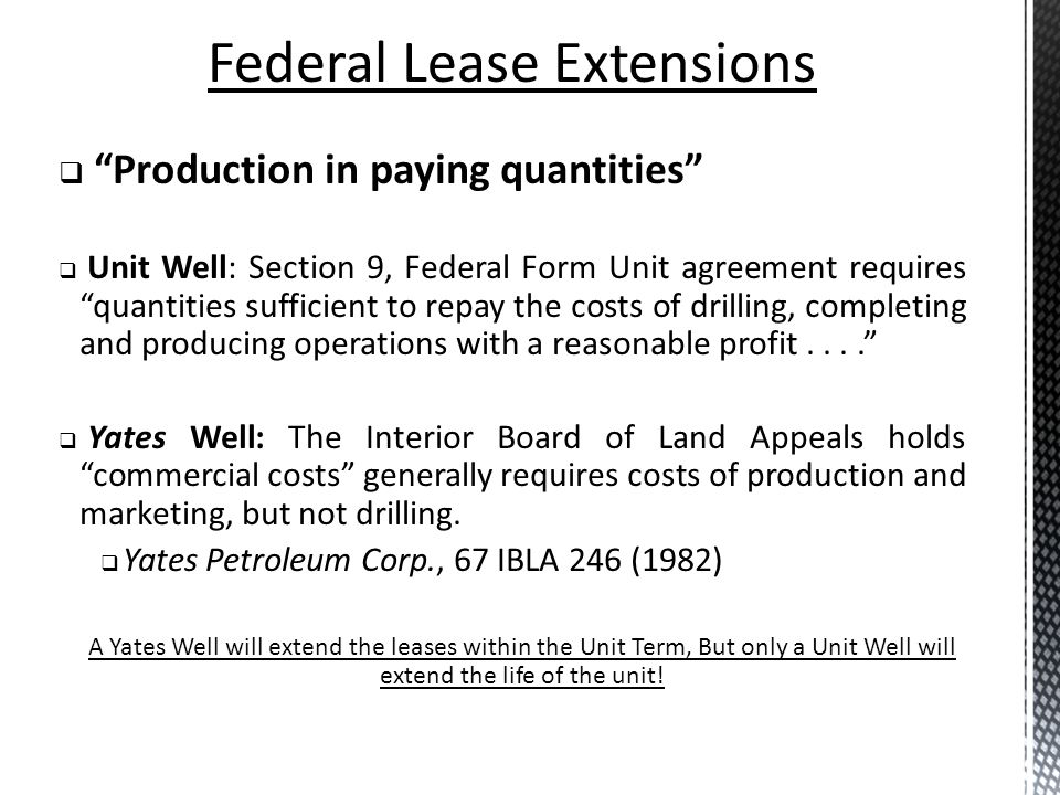 Federal Lease Extensions