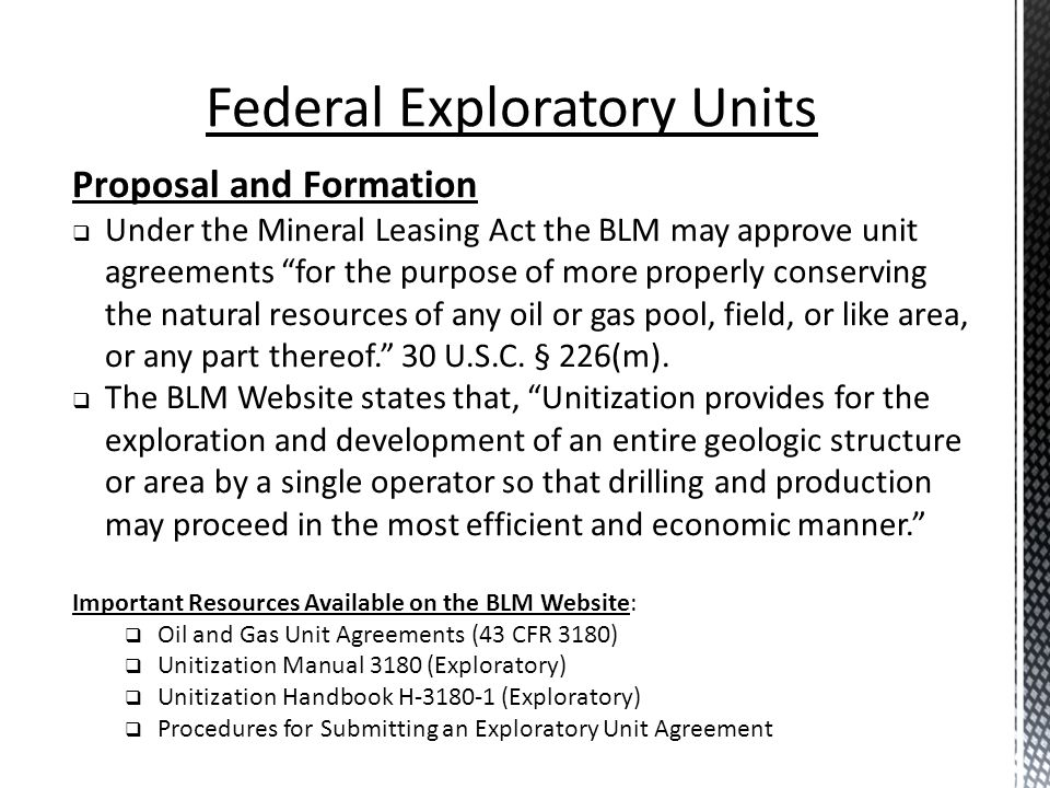 Federal Leases And Exploratory Units Ppt Download