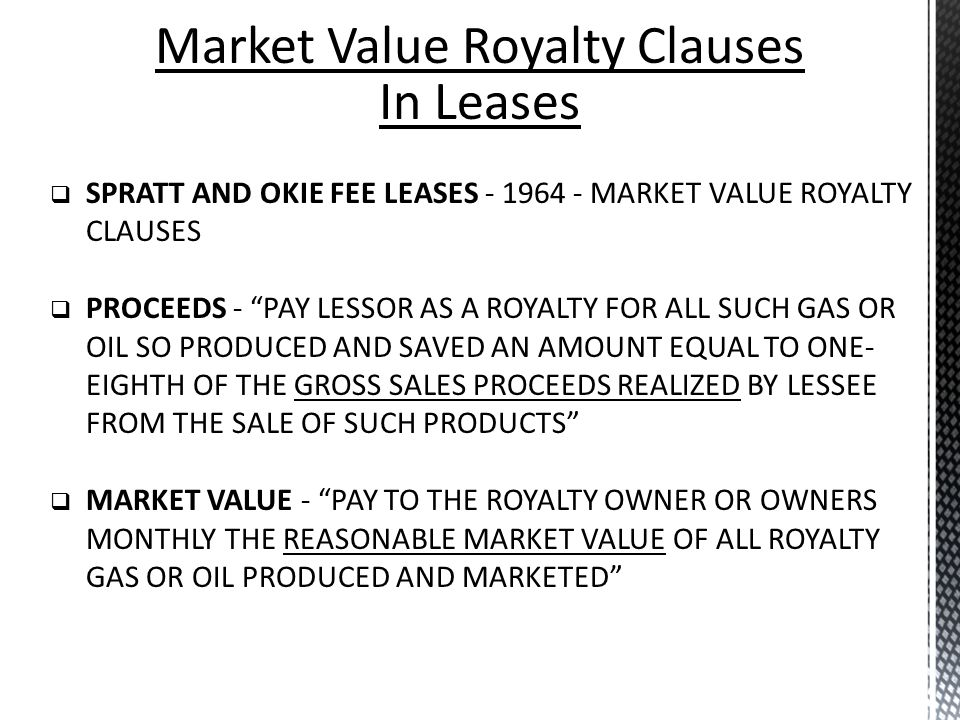 Market Value Royalty Clauses