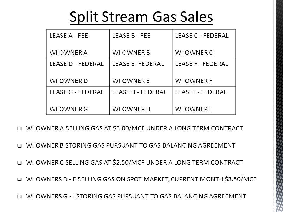 Split Stream Gas Sales LEASE A - FEE WI OWNER A LEASE B - FEE