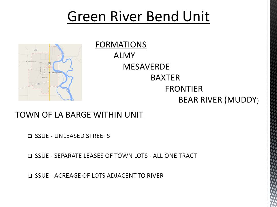 Green River Bend Unit FORMATIONS ALMY MESAVERDE BAXTER FRONTIER