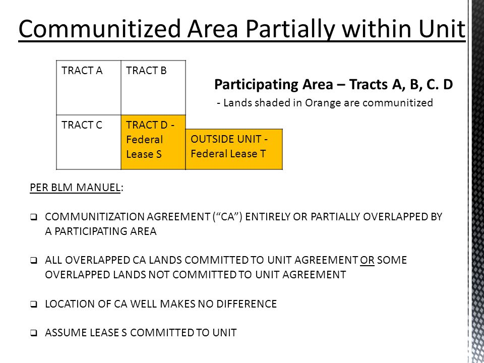 Communitized Area Partially within Unit