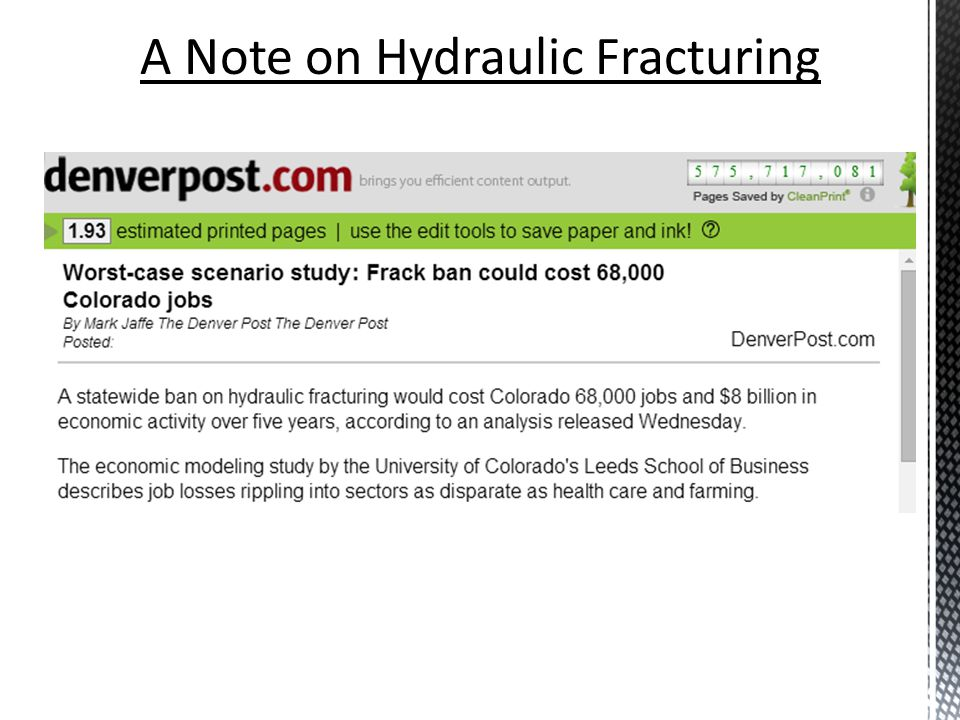 A Note on Hydraulic Fracturing