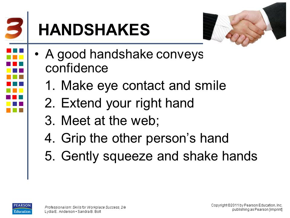 HANDSHAKES Make eye contact and smile Extend your right hand