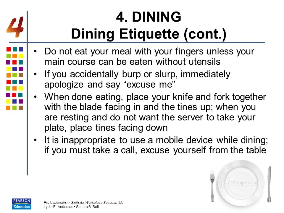 4. DINING Dining Etiquette (cont.)