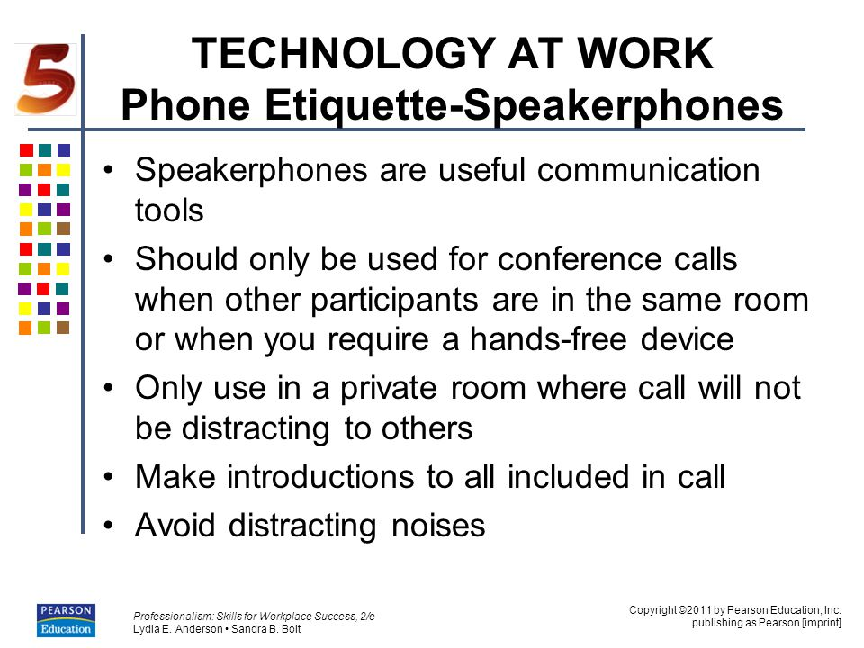 TECHNOLOGY AT WORK Phone Etiquette-Speakerphones