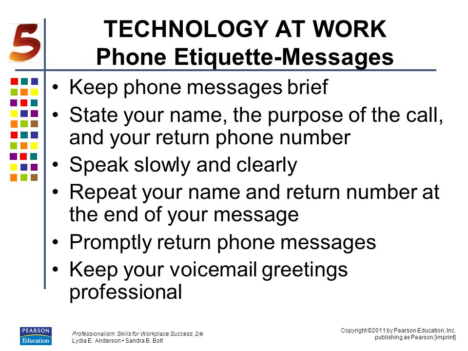 TECHNOLOGY AT WORK Phone Etiquette-Messages