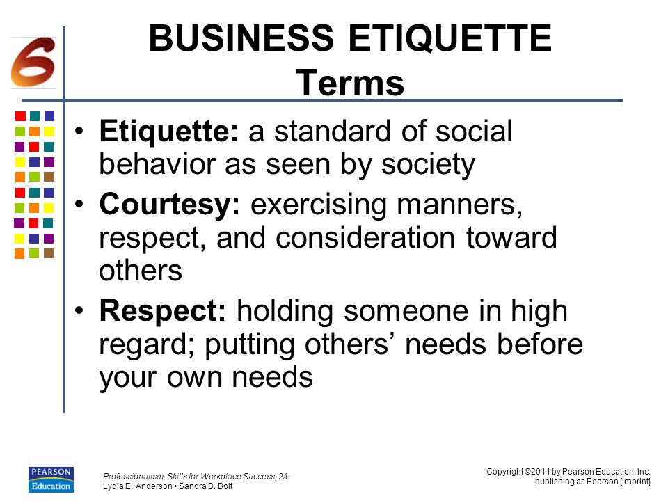 BUSINESS ETIQUETTE Terms