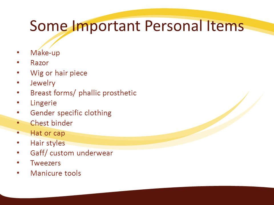 Some Important Personal Items