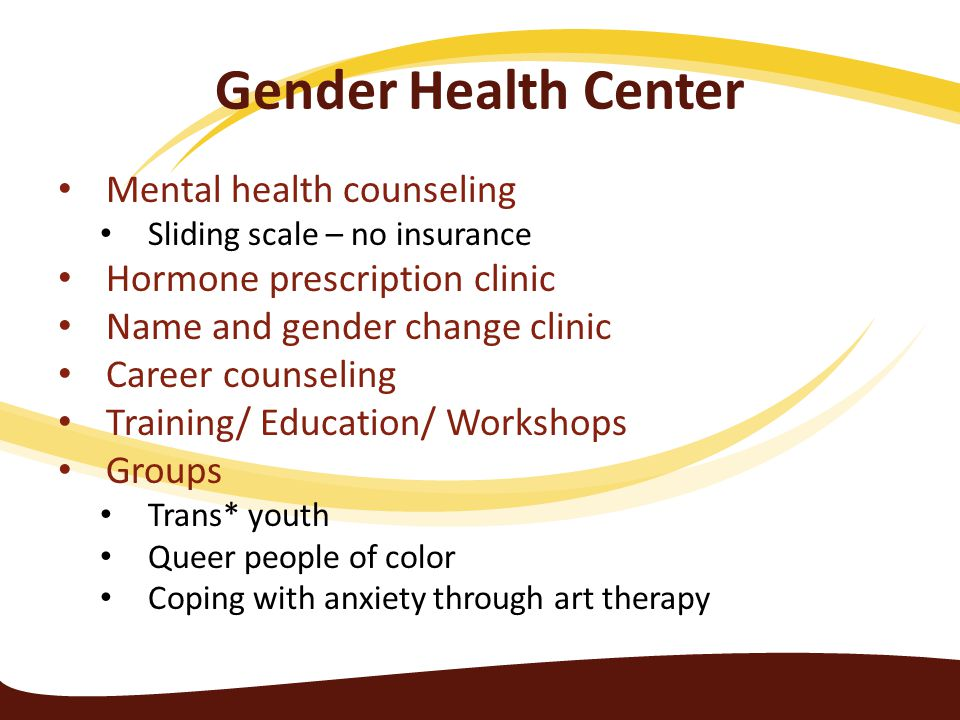 Gender Health Center Mental health counseling