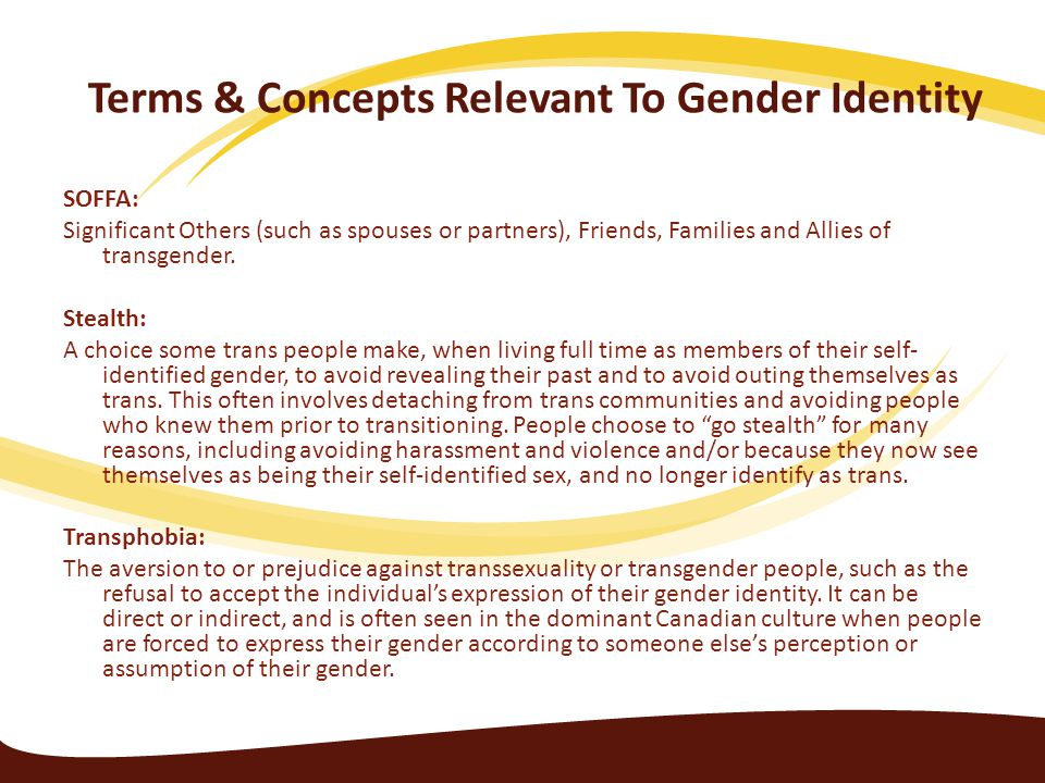 Terms & Concepts Relevant To Gender Identity