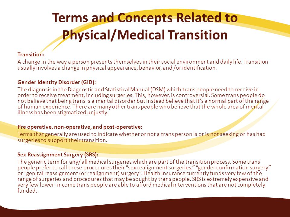 Terms and Concepts Related to Physical/Medical Transition