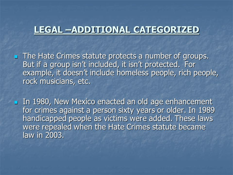 LEGAL –ADDITIONAL CATEGORIZED