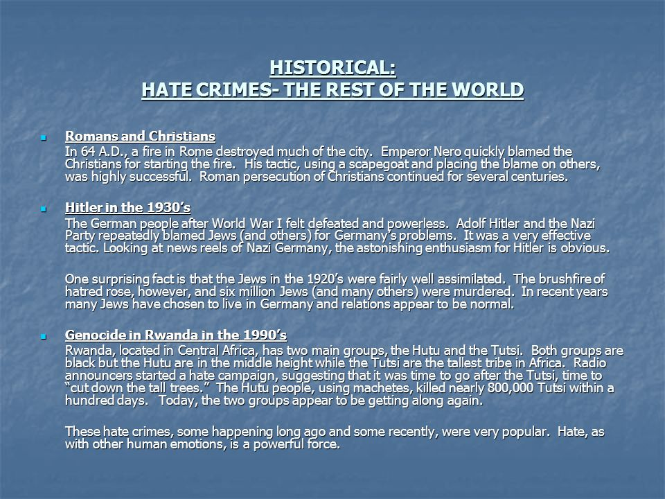 HISTORICAL: HATE CRIMES- THE REST OF THE WORLD