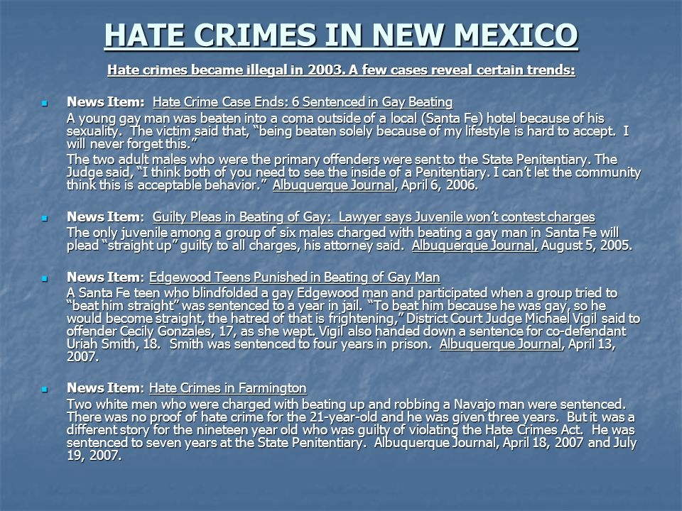 HATE CRIMES IN NEW MEXICO