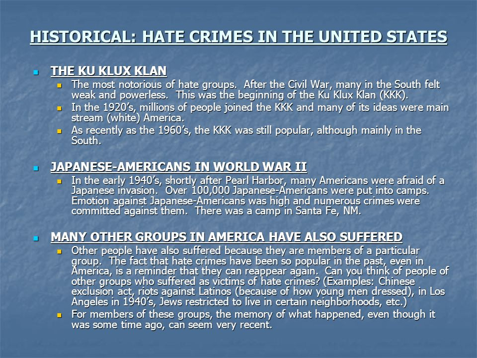 HISTORICAL: HATE CRIMES IN THE UNITED STATES