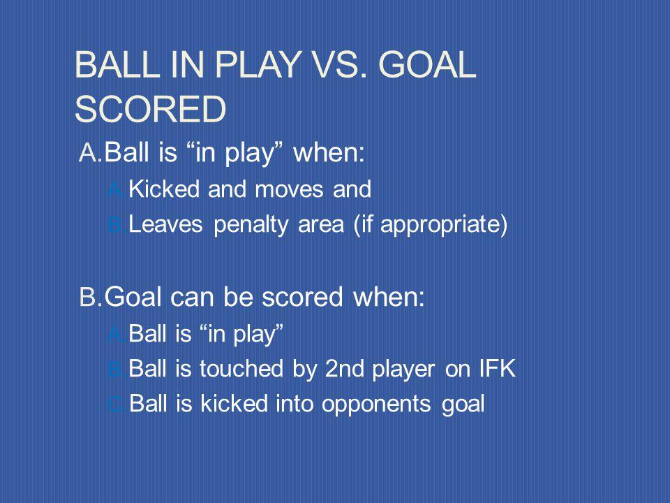 BALL IN PLAY VS. GOAL SCORED