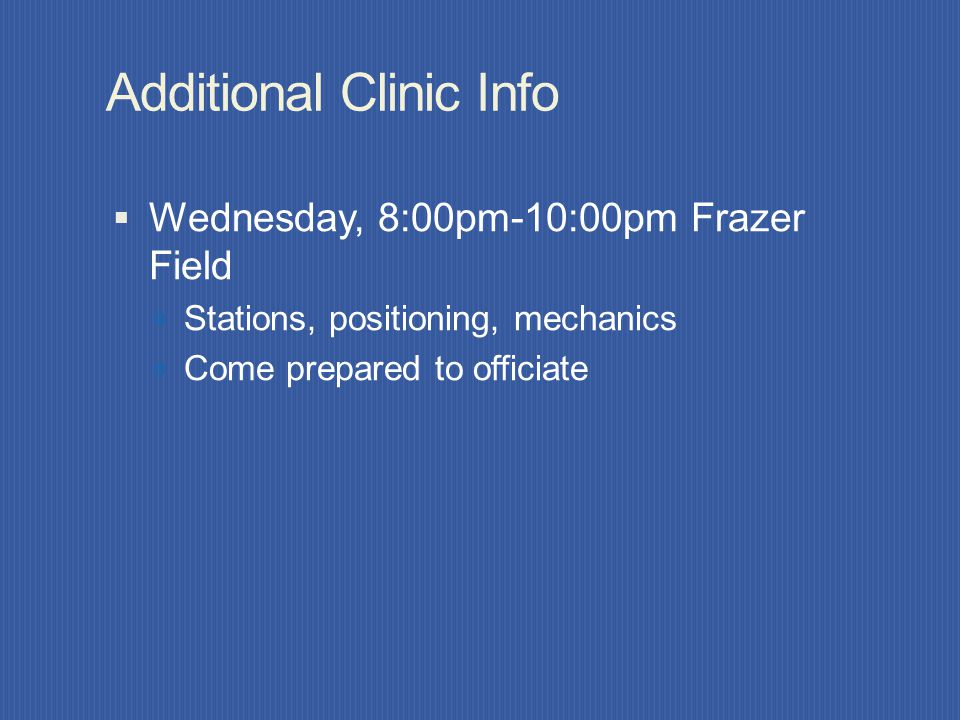 Additional Clinic Info