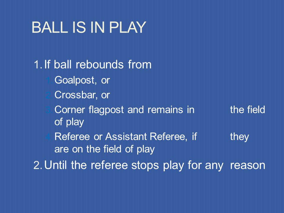 BALL IS IN PLAY If ball rebounds from