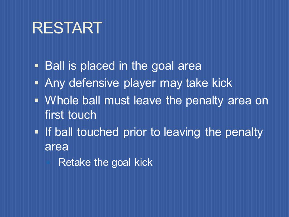 RESTART Ball is placed in the goal area