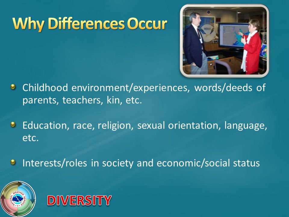 Why Differences Occur Childhood environment/experiences, words/deeds of parents, teachers, kin, etc.