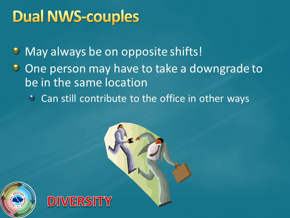 Dual NWS-couples May always be on opposite shifts!