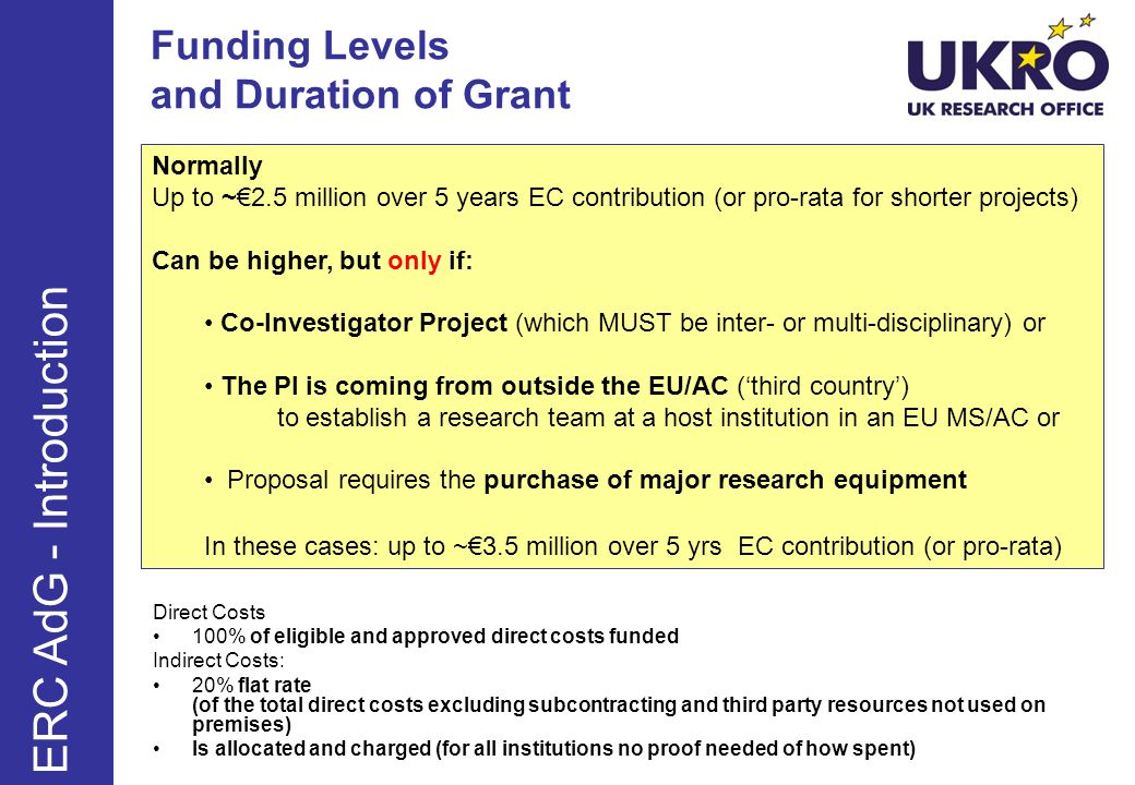 Funding Levels and Duration of Grant