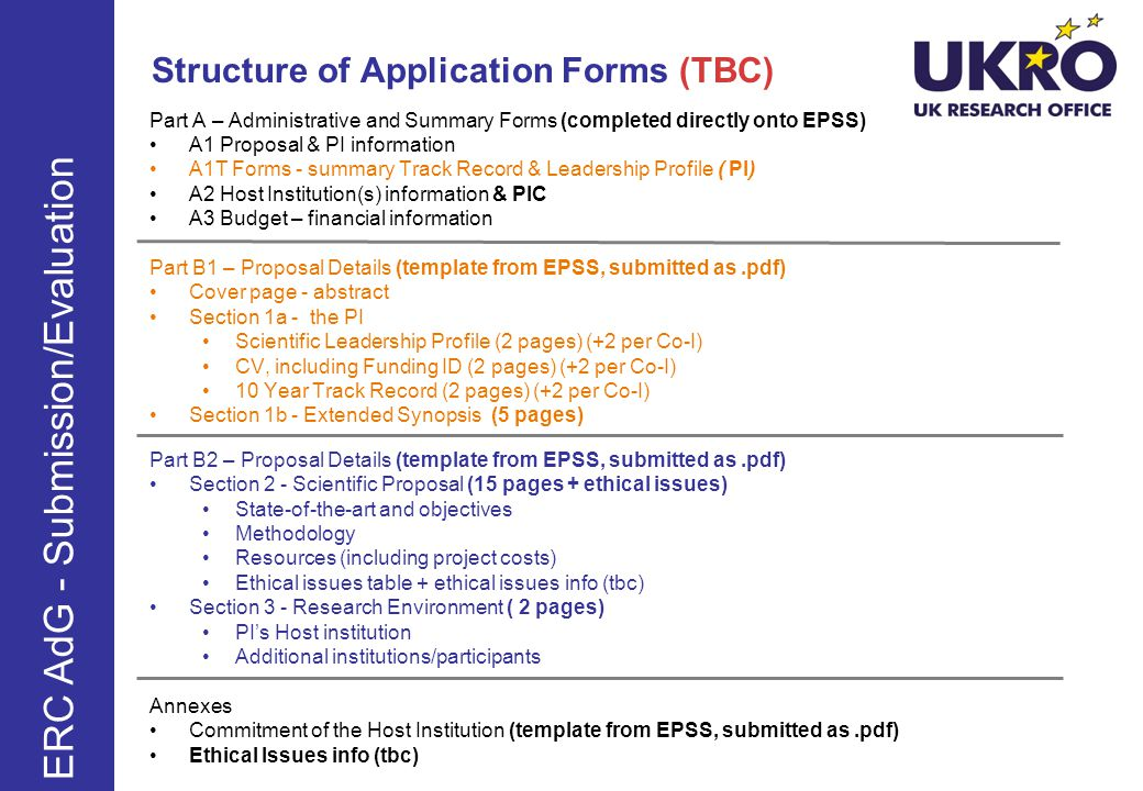 Structure of Application Forms (TBC)