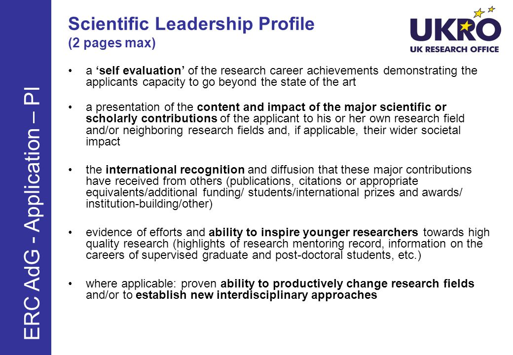 Scientific Leadership Profile (2 pages max)