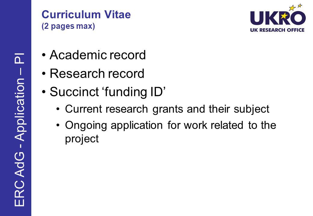 Curriculum Vitae (2 pages max)